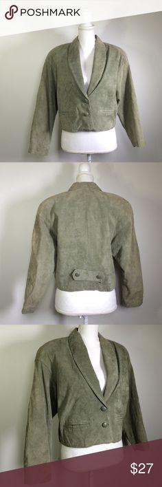 "Lord & Taylor Petites 10P green suede jacket 100% silky pig suede, lined, length: 19.25"", chest: 18"" pit to pit / 36"" around, shoulder seam to cuff: 18"", shoulder pads, there are some small spots here and there but overall good used condition Lord & Taylor Jackets & Coats"