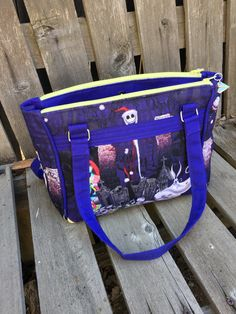 Dandelion Double Zip Handbag in Nightmare Before Christmas print/purple bottom and straps. by JazzyJoDesigns on Etsy