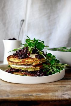 Ricotta Fritters with Beetroot Relish & Crème Fraîche | http://tabletwentyeight.com