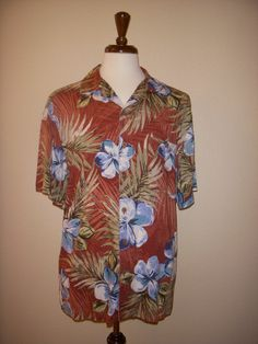 ISLAND SHORES Hawaiian SHIRT L Red Rayon Blue Hibiscus Tropical Floral #IslandShores #Hawaiian