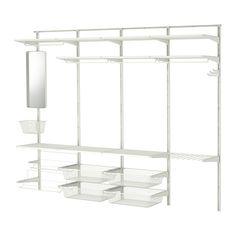IKEA - ALGOT, Stelažas/skersinis/batų stovas, ALGOT galima įrengti įvairiai. Sistemos dizainas gražus, o struktūra talpi, todėl ji dera bet kurioje namų vietoje.Kadangi atramos, lentynos ir kiti priedai paprasčiausiai įstatomi į vietą, juos lengva surinkti, pritaikyti ir keisti pagal kintančius poreikius.Galima statyti bet kur, net ir vonios kambaryje, kitose drėgnose patalpose ir įstiklintuose balkonuose.
