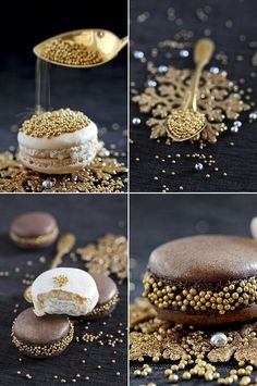 Chocolate and gold macaron Macaron Cookies, Cake Cookies, Bon Dessert, Dessert Recipes, French Macaroons, Christmas Treats, Party Cakes, Cake Decorating, Bakery