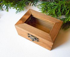 Small wooden display box rectangular box with by ExiArtsEcoCrafts