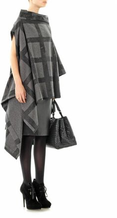 Vivienne Westwood Anglomania Gaia Check Wool Cape in Gray (charcoal)