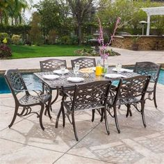 Christopher Knight Home 296592 Odena Outdoor Cast Aluminum Dining Set - 7 Piece Rectangular Table and Patio Chairs Garden Furniture Set -- Find out more about the great product at the image link. (This is an affiliate link) Outdoor Dining Furniture, Garden Furniture Sets, Outdoor Dining Set, Outdoor Living, Backyard Furniture, Furniture Covers, Wooden Furniture, Antique Furniture, Outdoor Spaces
