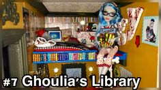 OFFICE & LIBRARY! This area of our 50+ room Monster High doll house is also has a loft bedroom for Ghoulia Yelps. Decorated In wise owls and books galore details the smart zombie theme. Little bit of blood too LOL http://www.superbuddiesforever.com/ #monsterhighdollhouse
