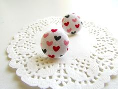 Tiny Heart Studs Fabric Button studs Heart by EfZinCreations