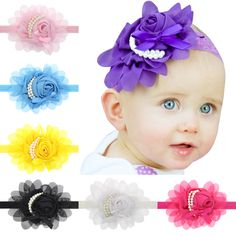Fashion Cute Newborn Flower pearls Elastic hair band for newborn Hair Accessories Stretchy  Photographic props H022