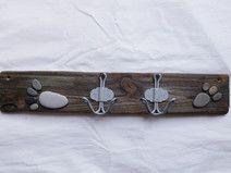 Hakenleiste aus Treibholz mit 2 Haken in grau