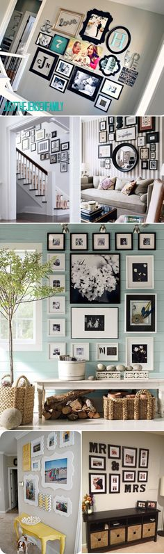 I like the collage above the couch surround the round mirror
