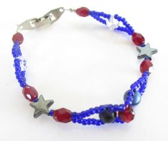 Red White and Blue Bracelet Beaded by ThePookiesJewelryBox on Etsy, $20.00