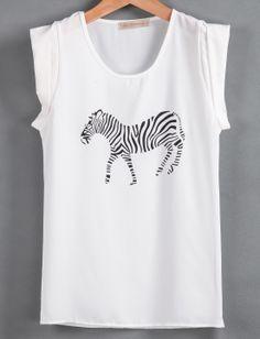 White Short Sleeve Zebra Print Chiffon T-Shirt EUR€14.33
