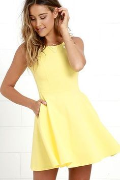 The next time you're packing a suitcase, the oh-so-versatile Wanderlust Yellow Skater Dress will be the first thing you'll want to bring along! Flattering princess seams lay below a rounded neckline and swooping back, while a knit skater skirt (with side-seam pockets) flares from a fitted waist. Hidden back zipper.: