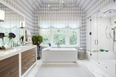 We are especially loving the pattern on the KOHLER Sartorial Rectangle Wading Pool Bathroom Sink. The Herringbone pattern on the sink ties in with the patterns used on the walls, curtains and rug to create a comfortable space. Take a closer look at the KOHLER fixtures used in this Hampton Designer Showhouse Home. #bathroomremodel #designhome #kohler