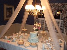 ***LOVE the tulle draping over/around table =) Bridal Shower Decorations And Ideas - How To Choose Proper Bridal Shower Decorations Tulle Decorations, Bridal Shower Decorations, Wedding Decorations, Bridal Shower Party, Bridal Showers, Baby Showers, Custom Drapes, Decoration Table, Here Comes The Bride