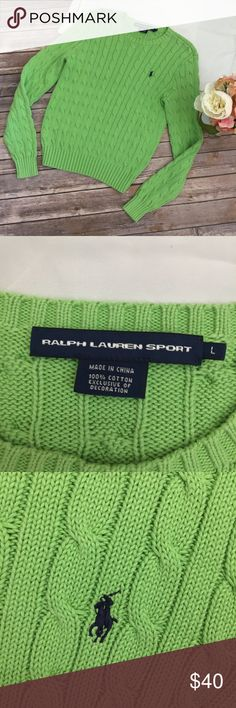 """Green Ralph Lauren Cable Knit Sweater Size L Excellent used condition! No flaws. Approximate measurements- chest: 15""""   Length: 20.5""""    Arm length: 25"""" Ralph Lauren Sweaters"""