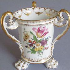 "RARE Antique DRESDEN HP Porcelain 8"" LOVING CUP 3 Handles FLOWERS Claw Feet GILT"