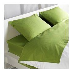 24.99 DVALA Sheet set, bright green - bright green - Queen - IKEA