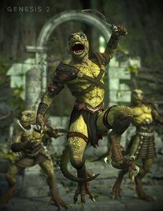 DAZ3D Lizardman Tribal Warrior for Genesis 2.