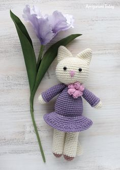 Amigurumi kitty in lilac dress - FREE PATTERN