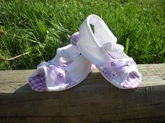 Baby Bootie Sandals White/Lavendar Flowers , $15.00