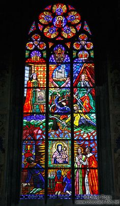 """""""Pained flass windows inside Vienna´s Votivkirche"""" - The church plans were established in an architectural competition in April 1854 after an unsuccessful knife attack on Emperor Franz Joseph by an Hungarian nationalist on February 18, 1853. The church was constructed by Franz Joseph's brother, Ferdinand Maximilian Joseph, the later emperor of Mexico. The church was constructed on the site of the failed knife attack as a Votivgabe (a thank-you present to God) for the rescue of Franz Joseph."""