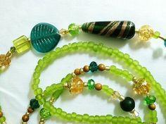 """Sweet Leaf"" Blue Lime Green Gold Brown Crystal Glass Beaded Lanyard | eBay"