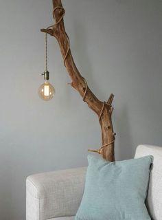 recouvrir une branche d'arbre souillé avec une suspension industrielle avec un cordon et … – Idées de Décoration