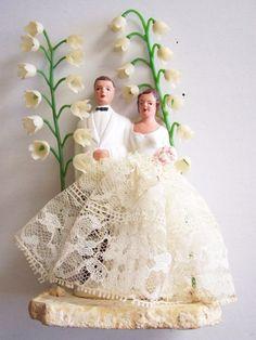 Vintage Bisque Chalkware Wedding Cake Topper