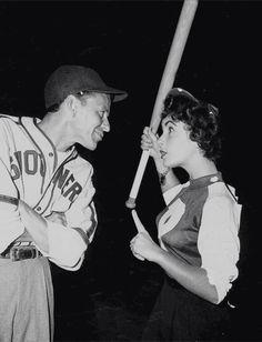 """katharinehepburn: """" Frank Sinatra and Elizabeth Taylor at a Hollywood Stars Baseball Game, 1949 """""""