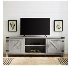 """Fits up to 80"""" TV Barn Door Tv Console, Barn Door Tv Stand, Tv Stand Console, 70 Inch Tv Stand, Farmhouse Tv Stand, Modern Farmhouse, Living Room Entertainment Center, Entertainment Stand, Barn Style Doors"""