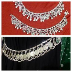 Pair of Indian Belly Dance Coins Noise Shimmy Anklet Feet Bracelet Ankle Chain