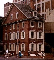 Faithfully rebuilt copy of the Declaration House (Graff House) at 7th & Market, Philadelphia, after the original structure was torn down in 1883. This is where Thomas Jefferson wrote the Declaration of Independence,  which took him about 3 weeks. This second version of the house was built in time for the Bicentennial celebration in 1976.