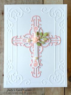 Judy's Card Corner: Baptism and First Communion Cards Confirmation Cards, Baptism Cards, Christening Card, First Communion Cards, Communion Banners, Spellbinders Cards, Christian Cards, Embossed Cards, Sympathy Cards