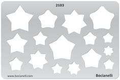 Plastic Stencil Template for Graphical Design Drawing Drafting Jewellery Making - Star Stars