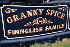 Signwriting on NB 'Granny Spice', Reading Marina Narrow Boat, Signwriting, Sign Painting, Canal Boat, Typography, Lettering, Painted Signs, Walks, Castles