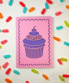 Cupcake Birthday   Laser-Cut Card in Pink by AlexisMattoxDesign, $3.95