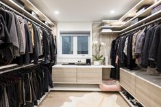 Beautiful European style closet with plenty of hanging and shoe storage for this wonderful collection of Chanel clothing. Walk In Closet Design, Bedroom Closet Design, Closet Designs, Makeshift Closet, Victorian Townhouse, Shelf Hardware, California Closets, Can Design, Design Ideas