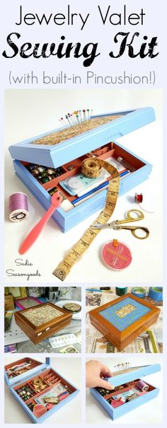 An outdated jewelry valet / box with a padded top from the thrift store isn't much to look at. But when you give it a splashy paint job and repurpose it as a sewing kit / box with a built-in pincushion, it's downright perfect! Fun, simple, functional DIY upcycle and thrift store makeover that will help organize all of your sewing notions! #SadieSeasongoods / www.sadieseasongoods.com