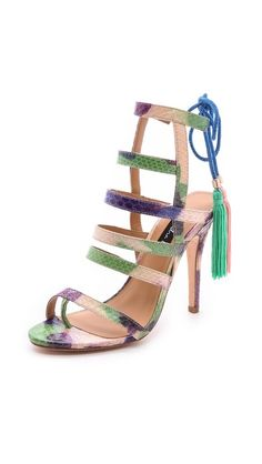 { Watercolor Strappy Sandals with Tassels }