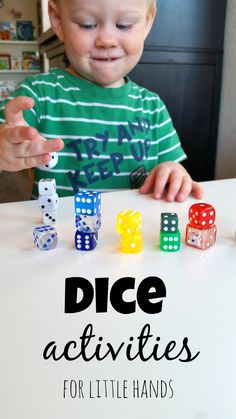 Dice Activities for Preschoolers | Incorporates fine motor, math, and vocabulary development!