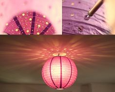 hundrets of holes in a paper lantern from Ikea . Paper Lanterns Party, Paper Lantern Lights, Home Crafts, Diy And Crafts, Arts And Crafts, Diy Lustre, Lampshade Chandelier, Diy For Girls, Interior Garden