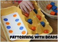 The Imagination Tree: Making Patterns with Lego and Egg Cartons Card Patterns, Beading Patterns, Egg Box Craft, Diy Montessori Toys, Lego Math, Imagination Tree, Preschool At Home, Homemade Toys, Learning Colors