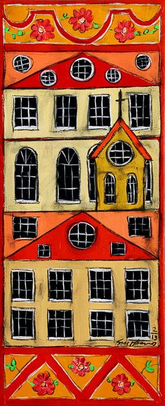 Swedish folk art | Swedish Folk Art Painting by Karl Haglund - perhaps with self-portrait faces peeking from the windows?