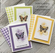 Lori Gray-An Independent Stampin' Up! Demonstrator Sharing card inspirations using Stampin' Up! Stampin Up, Butterfly Cards, Flower Cards, Hand Stamped Cards, Making Greeting Cards, Stamping Up Cards, Beautiful Butterflies, Paper Cards, Creative Cards
