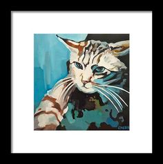 Cat Pictures Framed Print featuring the painting Icat by Carmen Stanescu Kutzelnig Hanging Wire, Fine Art America, Picture Frames, Framed Prints, Cats, Pictures, Painting, Gatos, Photos