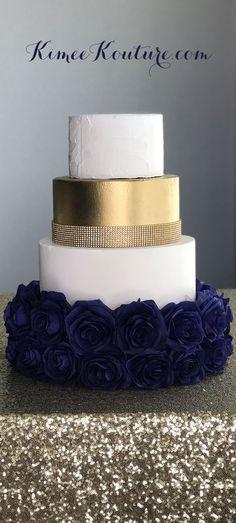 New wedding cakes navy blue bridal shower Ideas Navy Blue Wedding Cakes, Navy Wedding Flowers, Wedding Cakes With Cupcakes, Wedding Cakes With Flowers, Cool Wedding Cakes, Wedding Blue, Blue Flowers, Elegant Flowers, Wedding Colors