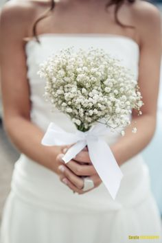 {Bride's Simple Bouquet Of White Gypsophila (Baby's Breath) Hand Tied With A White Ribbon/Bow} Elegant Wedding, Perfect Wedding, Dream Wedding, Wedding Day, Bridesmaid Outfit, Bridesmaid Bouquet, Bridesmaids, Simple Flower Crown, Surprise Wedding