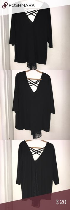 Toward high low black top Torrid V neck top with trailing lace on the back & strappy torrid Tops Blouses