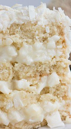 FRESH COCONUT DREAM CAKE=COCONUT FILLING=2c minced coconut meat,1¼c heavy cream,1 stick butter,¾c sugar,½t cornstarch,2t vanilla extract=COCONUT WATER GLAZE==1½ c coconut water,⅓ c sugar,2t vanilla extract=CAKE=3c flour,1t baking powder,½t salt, 2 c sugar,4 large eggs, 2½ sticks butter,1 c evaporated milk, 2 t vanilla extract=CREAM CHEESE FROSTING=1- 8 oz pkg cream cheese,1 stick unsalted butter,4c powdered sugar,2t vanilla extract====